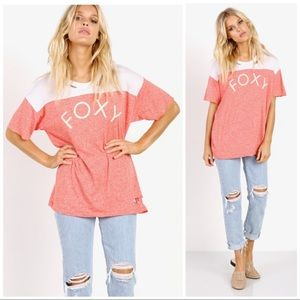 WILDFOX Foxy Destroyed Graphic Tee Red Size Small